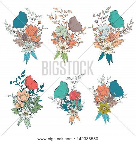 Hand drawn flower bouquets for wedding invitations and birthday cards vector illustration