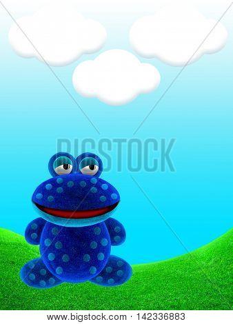 Blue frog. Frog cartoon. 3d Illustration.