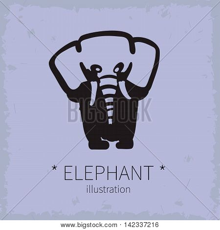 Vector illustration. Cute elephant on a grey background.