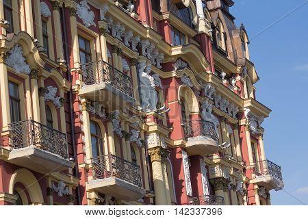 Decor elements of the facade of a vintage building. Kiev