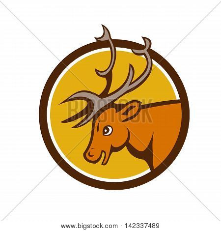 Illustration of a stag deer buck head viewed from the side set inside circle on isolated background done in cartoon style.