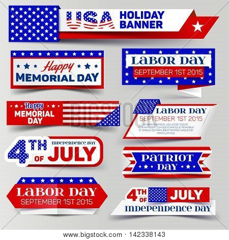 Set of USA holiday banner. 4th of July Memorial day Labor day Patriot day