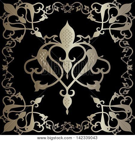 Luxury royal vector damask baroque seamless pattern background with gold elegant stylish ornaments. Oriental elements for design in Eastern style. 3d decor with shadow and highlights.