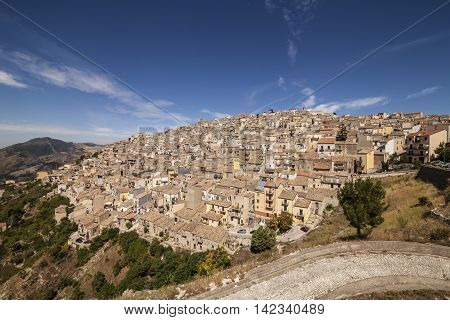 Panoramic view of Prizzi a typical village located in the middle of the Sicily