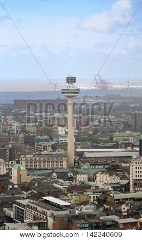 LIVERPOOL, ENGLAND, JULY 2. The Radio City Tower on July 2, 2016, in Liverpool, England. Liverpool landmarks include Merseyside Radio City Tower and the Municipal Building.