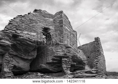 Wukoki pueblo ruin in Wupatki National Monument near Flagstaff Arizona in black and white.