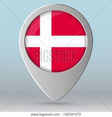 Denmark flag map pointer Vector illustration EPS 10