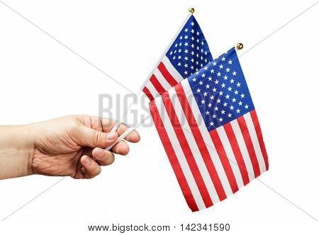 American flag in hand isolated on white background