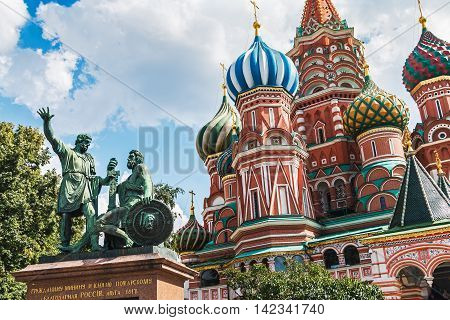 Saint Basil's Cathedral and monument to Minin and Pozharsky on Red Square in winter in Moscow Russia