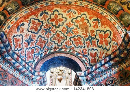 painted on the walls of galleries and St. Basil's Cathedral in Moscow. Russia