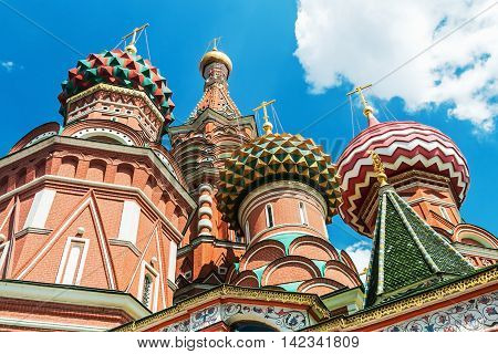 domes and walls of St. Basil's Cathedral in Moscow. Russia
