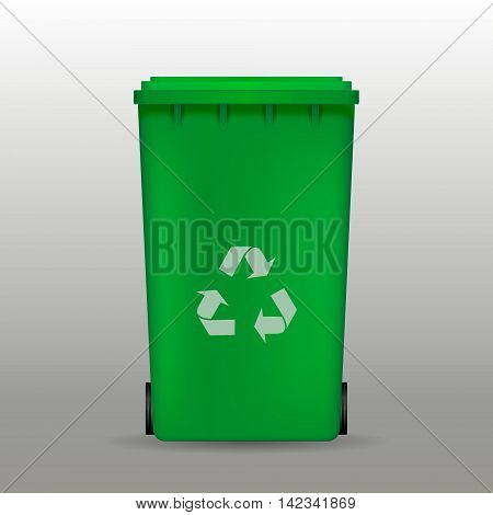 vector green recycle garbage can vector illustration