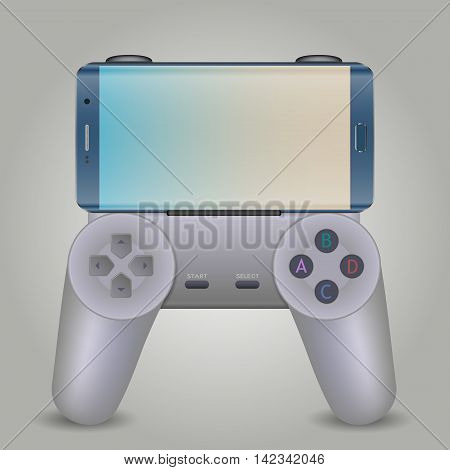 Modern smartphone connected with gamepad isolated on white background.