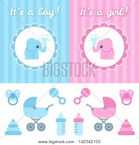 Baby shower design elements. Cute cartoon baby elephant on elegant background toys and newborn items. Boy and girl version.