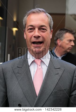 LONDON, UK , JUN 3, 2016: Nigel Farage seen arriving at Global media radio picture taken from the street