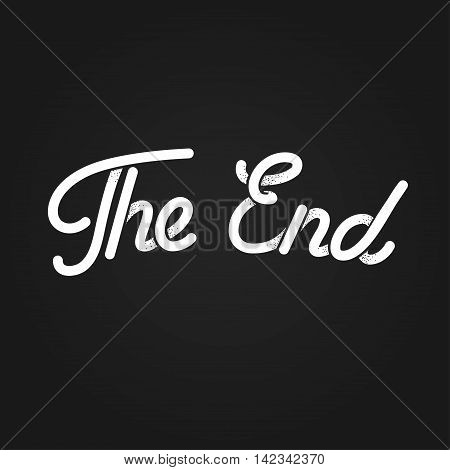 The End stylized vintage lettering. Black and white retro movie ending screen. Old cartoon vector background.