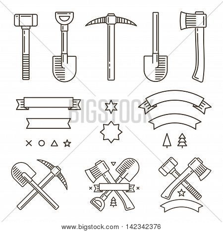 Design set for outdoor adventure or manual work logo creation. Tools ribbons and symbols. Vintage hipster emblem constructor.