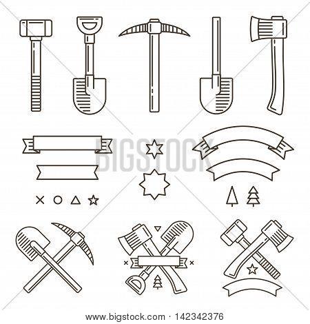 Design set for outdoor adventure or manual work logo creation. Tools ribbons and symbols. Vintage hipster emblem constructor.