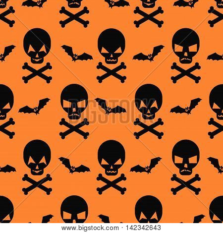 Halloween pattern with bats and skulls. Seamless halloween background. Happy Halloween concept illustration. Design for textile, wallpaper, fabric, decor etc.