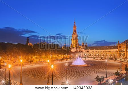 View of Spain Square on sunset, landmark in Renaissance Revival style, Seville, Andalusia, Spain.