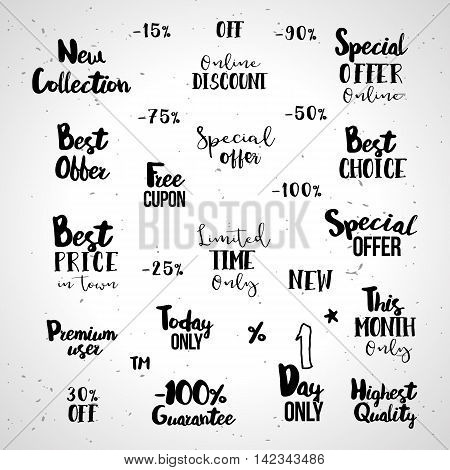Set of sale typography tags. Vector illustrations for e-commerce, product promotion, advertising, sell products, discounts, sale, clearance. Best choice, Special offer, new collection, online discount