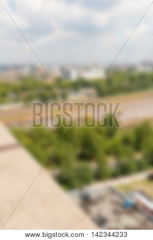 Large warehouse exterior theme creative abstract blur background with bokeh effect