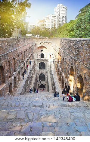 ruins of an ancient well Agrasen ki Baoli allegedly 12th century. India. Delhi