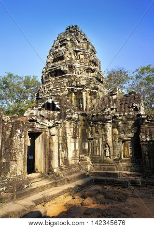 Temple ruins (XII th Century) on a sunset Siem Reap Cambodia