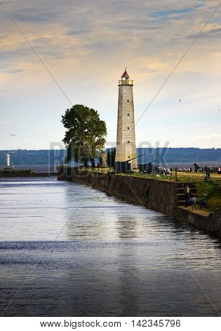 Kronstadt promenade to the pier with a lighthouse . St. Petersburg.Russia.