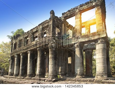 gallery in temple Preah Khan ruins(12th Century) in Angkor Wat Siem Reap Cambodia