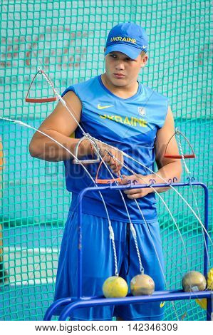 HAVRYLYUK Myhaylo from Ukraine during hammer throw boys competition at the European Athletics Youth Championships in the Athletics Stadium Tbilisi Georgia 14 July 2016