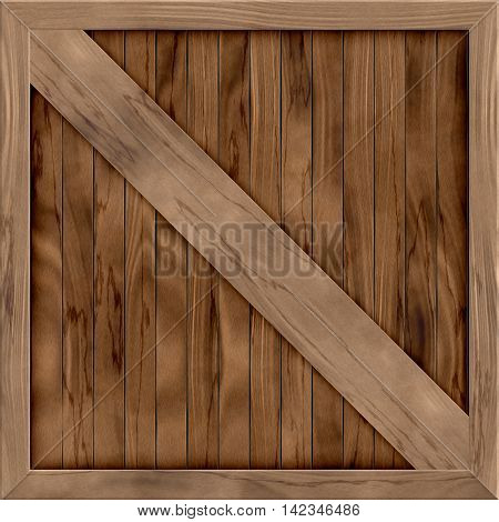Wood crate generated hires texture, 3D illustration