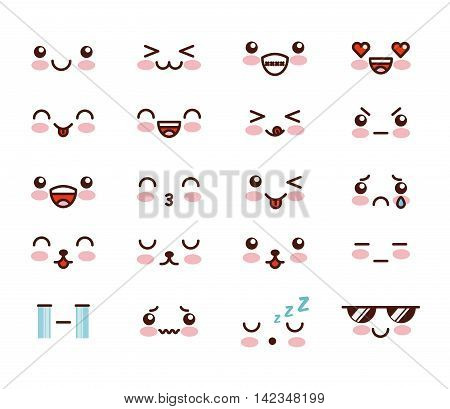 kawaii face vector illustration, eps10 graphic design