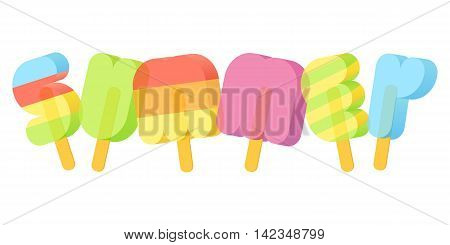 Summer Ice Cream Poster typography. Summer vacation concept. Popsicle typeface. Vector illustration isolated on white