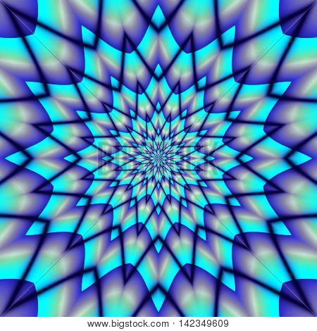 Abstract blue background resembling stylized snowflake. Abstract psychedelic object of concentric stars with blue rays