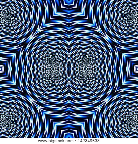 Abstract psychedelic rotating blue background of circular concentric shapes. Blue and white abstract rotating and vibrating pattern