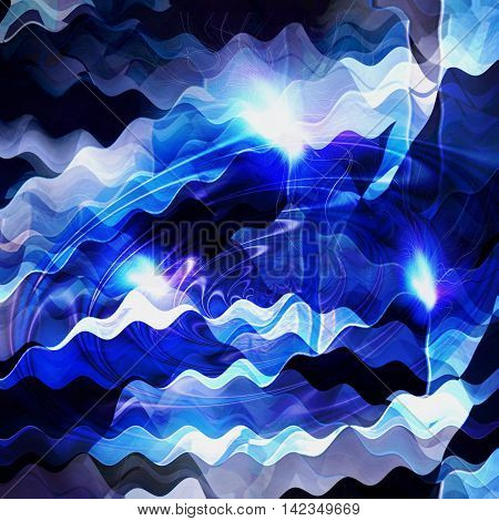 Abstract blue and black background resembling sea with light reflections. Blue and white water vortex pattern with waves