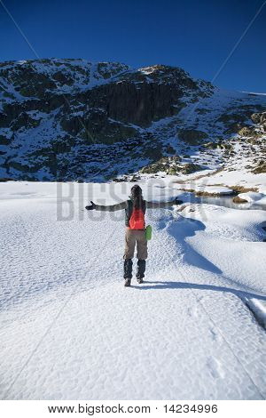 Greeting Hiking Woman On Snow
