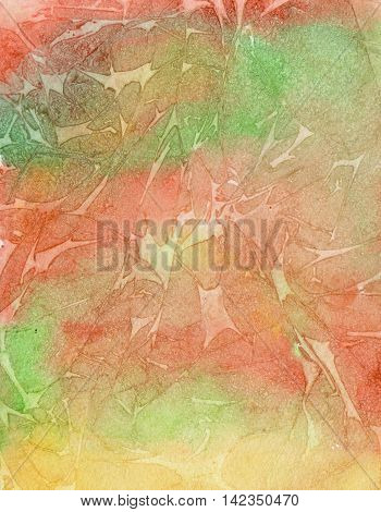 Watercolor red and green background, texture of watercolor paper