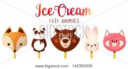 Cute Animals Ice Cream. Funny Summer vector illustration isolated on white background.