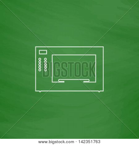 Microwave Outline vector icon. Imitation draw with white chalk on green chalkboard. Flat Pictogram and School board background. Illustration symbol
