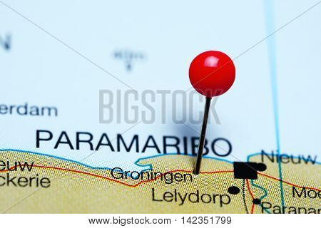 Groningen pinned on a map of Suriname