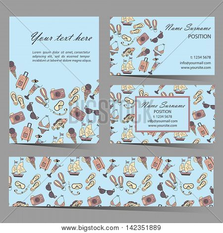 Summer beach card set for different invitations, voucher, coupon code, promotional flyers and business cards. Seamless pattern is masked and added to swatches panel.