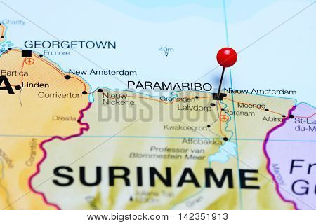 Paramaribo pinned on a map of Suriname