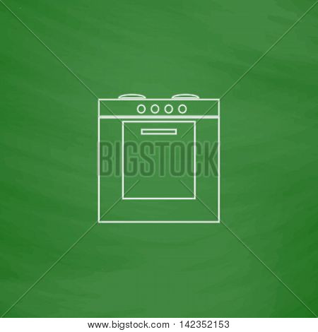 stove Outline vector icon. Imitation draw with white chalk on green chalkboard. Flat Pictogram and School board background. Illustration symbol