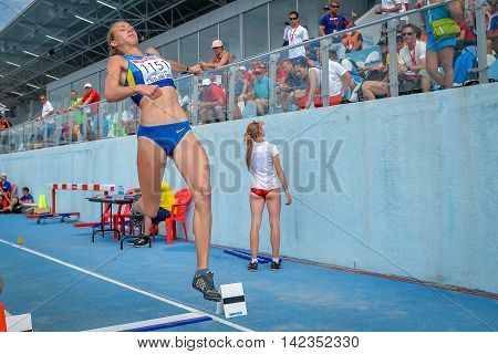SHUKH Alina from Ukraine during triple jump girls competition at the European Athletics Youth Championships in the Athletics Stadium Tbilisi Georgia 16 July 2016