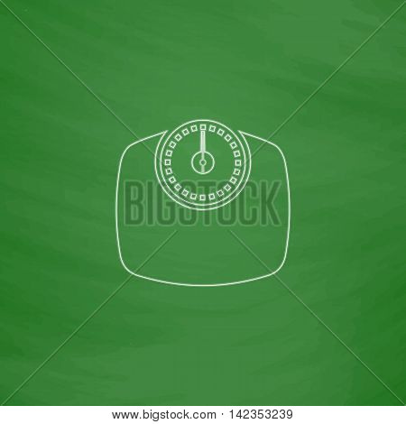 Bathroom scale Outline vector icon. Imitation draw with white chalk on green chalkboard. Flat Pictogram and School board background. Illustration symbol