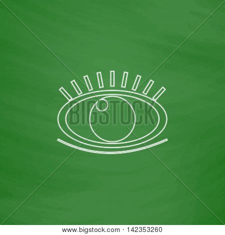 Eye Outline vector icon. Imitation draw with white chalk on green chalkboard. Flat Pictogram and School board background. Illustration symbol