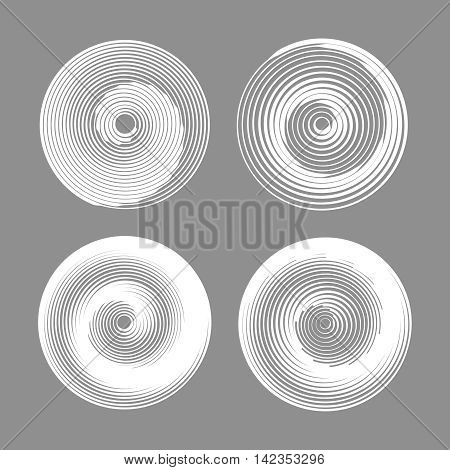 Set of spiral motion elements, white isolated objects. Vector illustration.