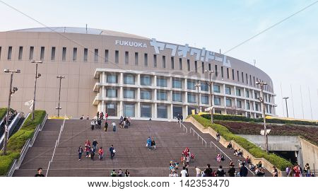 Fukuoka, Japan - March 19, 2016: Fukuoka on March 19, 2016. Fukuoka SoftBank HAWKS supporter entering Yahuoku dome to watch the Baseball game.